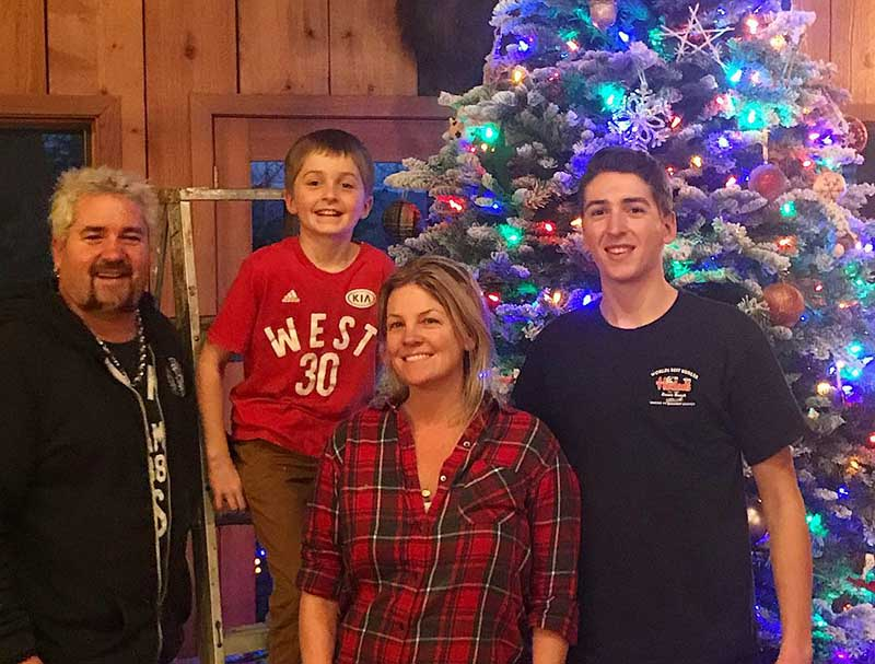 Hunter Fieri with his father, mother, and brother