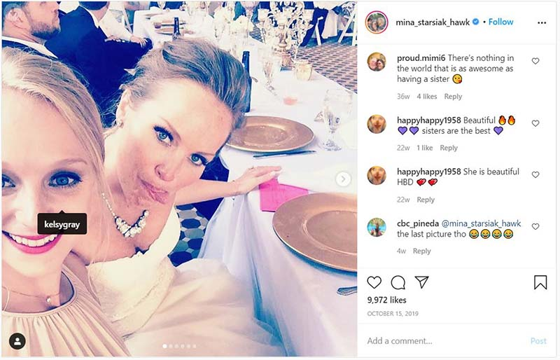 Instagram post by Mina Starsiak wishing his sister Kalsy happy birthday.