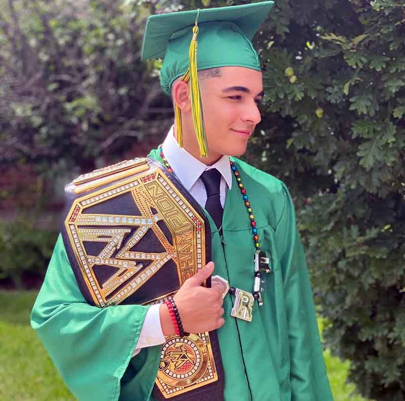 Photo of Kim Marie Kessler's son, Michael on the day of graduation