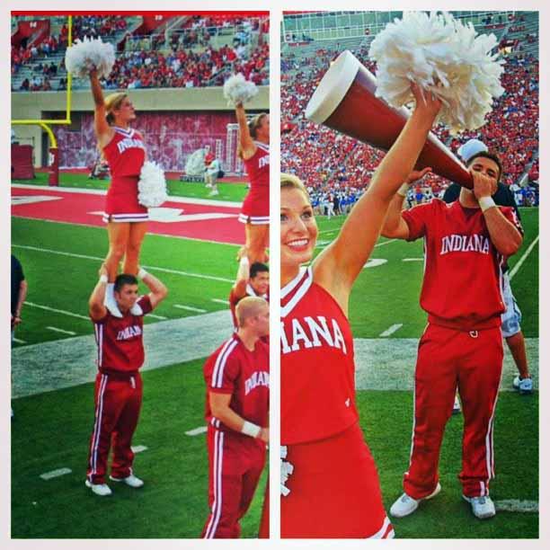 Photo of Tad Starsiak cheerleading in his college.