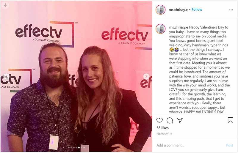 Christina Eslinger post on her Instagram wishing Valentine Day to her boyfriend, Ted Starsiak.