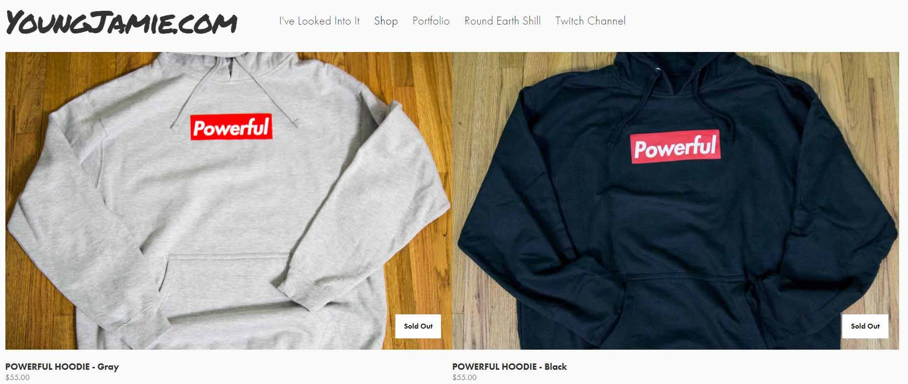 screenshot of Jamie Vernon's Online Shop.